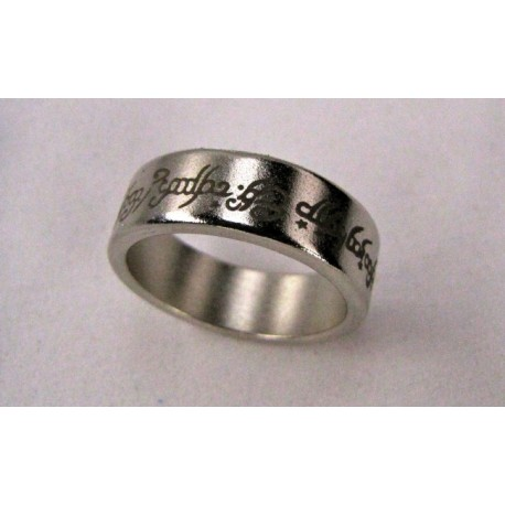 Pk ring Anello magnetico color argento ( Con scritta tipo signore degli anelli) 21 mm diametro interno