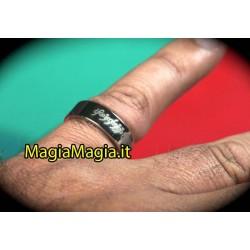 Pk ring Anello magnetico ( Con scritta tipo signore degli anelli) 19 mm diametro interno color argento nero)